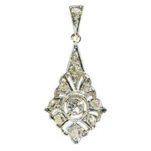 Antique Art Deco Old European and Rose Cut Diamond Pendant