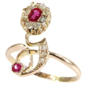 Antique Art Nouveau Ruby and Diamond Crossover Ring