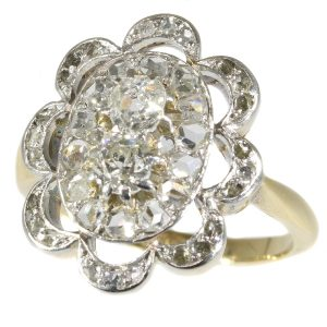 Antique Late Victorian Old Brilliant Cut Diamond Cluster Engagement Ring