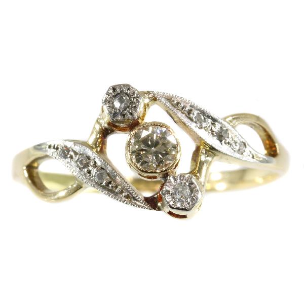 Antique Art Nouveau Three Stone Diamond 18ct Bi-Colour Gold Ring