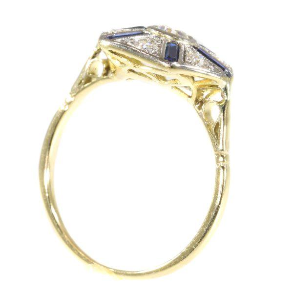 Antique Art Deco Hexagonal Old European Cut Diamond and Sapphire Ring