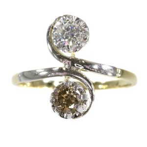 Vintage Fifties Brilliant Cut Diamond Two Stone Engagement Ring
