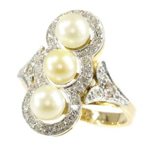 Vintage Fifties Pearl and Diamond 18ct Gold Ring