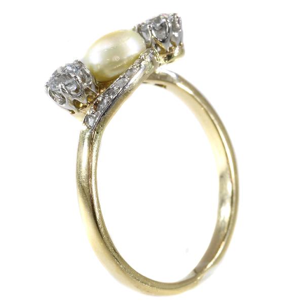 Antique Pearl and Old Brilliant Cut Diamond Three Stone Ring