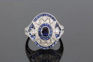 Art Deco Style Sapphire and Diamond Platinum Dress Ring