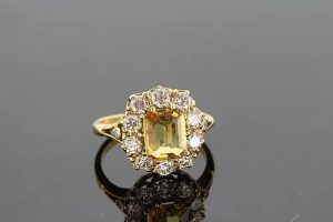 1.90ct Yellow Sapphire and Diamond Cluster Ring in 18ct Yellow Gold