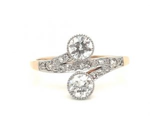 Antique Edwardian Old Cut Diamond Two Stone Toi et Moi Ring, 1.20cts