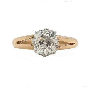 Antique Old Mine Cushion Cut Diamond Engagement Ring
