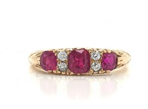 Antique Ruby and Diamond Carved Half Hoop Ring, 1900
