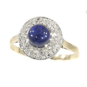 Antique Art Deco Diamond and High Domed Cabochon Sapphire Ring
