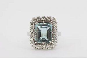 Emerald Cut Aquamarine and Diamond Cluster Ring, 4.64 carats