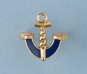 Vintage Gold Anchor Ring with Coral and Lapis, Signed Fred of Paris