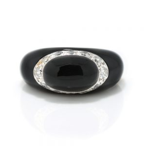 Van Cleef and Arpels Fidji Onyx and Diamond Ring, 0.24 carat total, Signed and Numbered, Comes in original box, Circa 1990s