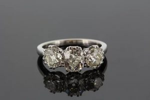 Old Cut Diamond Three Stone Ring in 18ct White Gold, 3.65 carat total