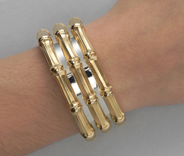 Cartier Bi-Colour 18ct Gold Bamboo Cuff Bangle Bracelet, Signed and numbered