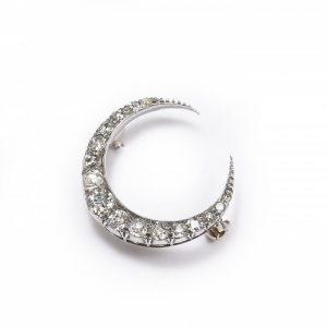 Antique Victorian Old Cut Diamond Crescent Brooch, 2.00 carat total