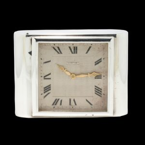 Antique Cartier Sterling Silver Clock, sterling silver case and manual winding movement, in original box, J.C Jacques Cartier, London Import Hallmark Dated 1929