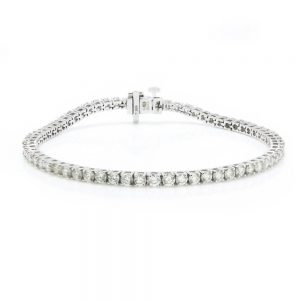 Diamond Line Tennis Bracelet in 18ct White Gold, 4.64 carat total