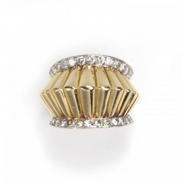 Vintage 1940s French Fluted Gold and Diamond Ring; raised fluted yellow gold row flanked either side by platinum edges set with a row of round brilliant-cut diamonds, 1.10 carat total