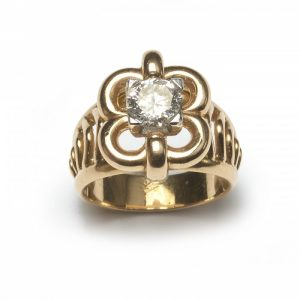 Vintage French 0.91ct Diamond Solitaire Dress Ring