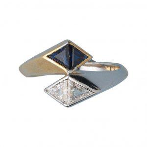 Illario Diamond and Sapphire Toi et Moi Ring