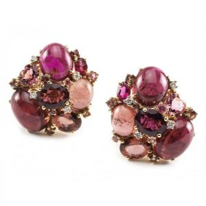 Pink Tourmaline and Diamond Cluster Earrings