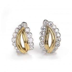 Vintage Gold, Platinum and Diamond Leaf Shaped Earrings, 3.50 carats