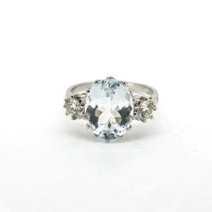 Oval Cut Aquamarine and Diamond Three Stone Ring Platinum, 4.50cts