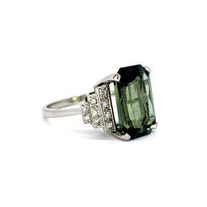 Art Deco Style 7.47ct Green Sapphire and Diamond Cocktail Ring