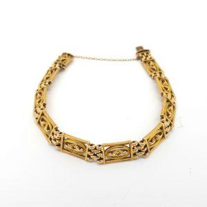 Antique Victorian 15ct Gold Panel Bracelet