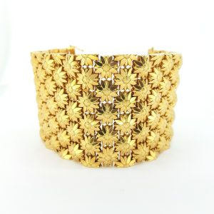 Floral Articulated Link 18ct Yellow Gold Bracelet