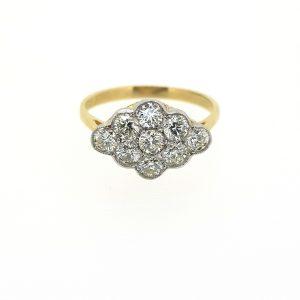 Contemporary Nine Stone Diamond Cluster Ring, 0.90 carat total
