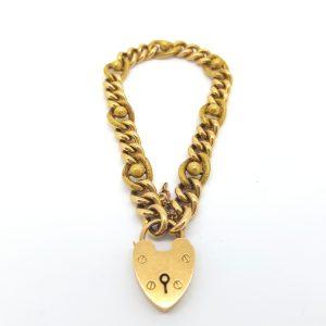 Vintage Gold Curb Bracelet with Heart Padlock