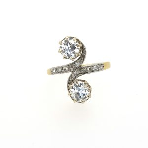 Antique Edwardian Diamond Two Stone Crossover Ring, 1.50 carats