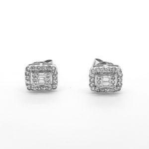 Modern Diamond Cluster Stud Earrings, 0.50 carats