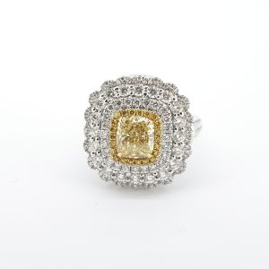 Yellow and White Diamond Cluster Ring, 1.00 carat GIA Certified