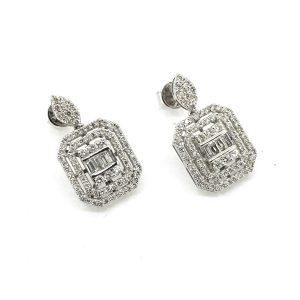 Contemporary Diamond Cluster Drop Earrings, 2.00 carat total