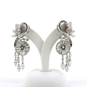 Vintage 1950s Scroll Diamond Drop Earrings, 6.00 carat total