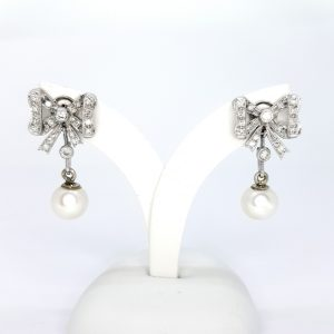 Vintage Pearl and Diamond Bow Drop Earrings