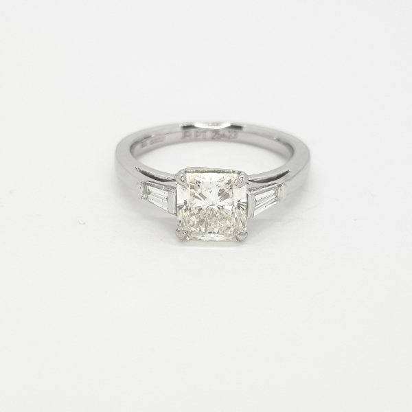 0.51ct Radiant Cut Diamond Ring with Baguette Shoulders in Platinum