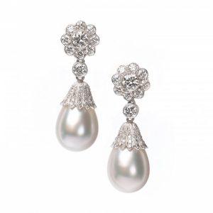 South Sea Pearl and Diamond Convertible Drop Earrings, 1.65 carats