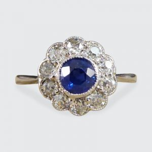 Antique Art Deco Sapphire and Diamond Cluster ring