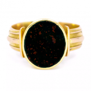 Antique Victorian Bloodstone 15ct Gold Signet Ring