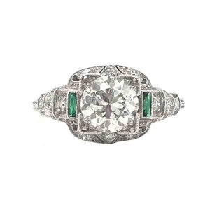 Art Deco Emerald and Old Cut Diamond Engagement Ring, Platinum, 1.20cts