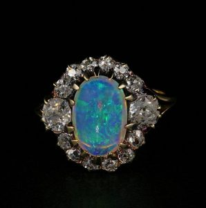 Magnificent Antique Victorian Natural Opal and 1.80ct Old Mine Diamond Ring