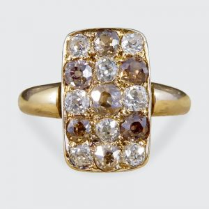 Victorian Antique 1.57ct Brown and White Diamond Chequerboard Ring