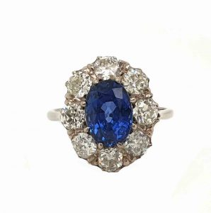Vintage Ceylon Sapphire and Old Cut Diamond Cluster Ring, 3 carats