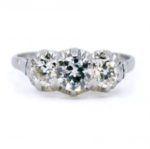 Vintage 0.95ct Old European Cut Diamond Three Stone Ring