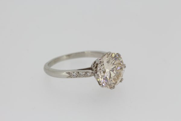 3.01ct Diamond Solitaire Engagement Ring in Platinum; featuring a 3.01 carat diamond, eight double-claw set, with delicate diamond-set shoulders
