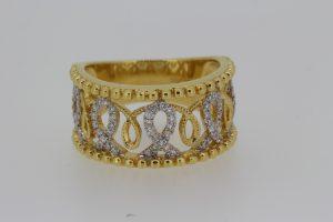 Diamond Set Openwork 18ct Yellow Gold Wide Band Ring